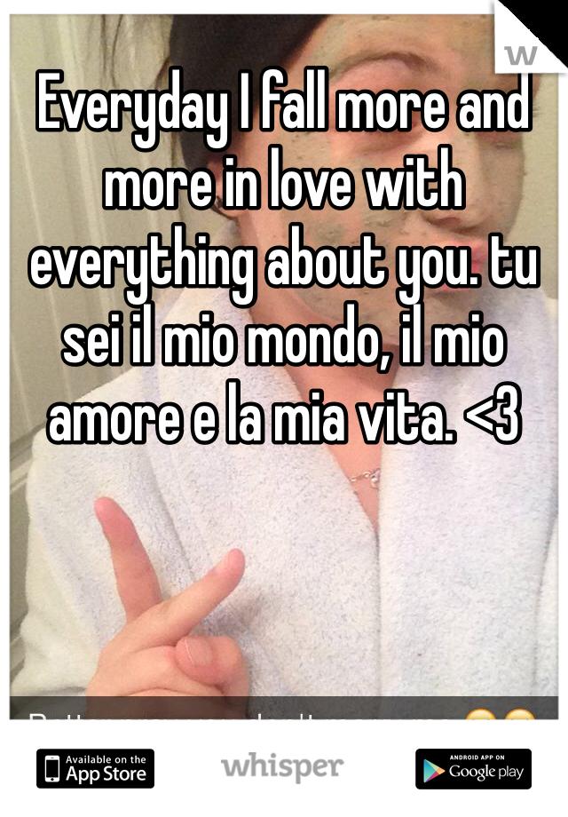 Everyday I fall more and more in love with everything about you. tu sei il mio mondo, il mio amore e la mia vita. <3