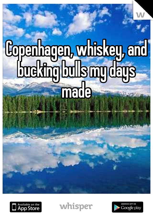 Copenhagen, whiskey, and bucking bulls my days made