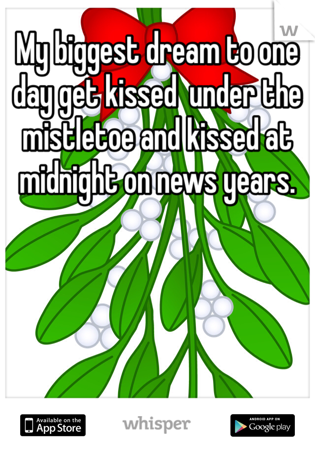 My biggest dream to one day get kissed  under the  mistletoe and kissed at midnight on news years.