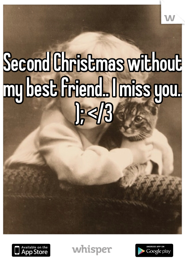 Second Christmas without my best friend.. I miss you.. ); </3