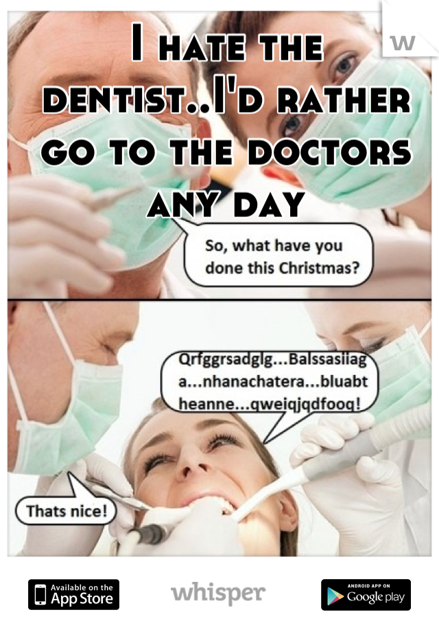 I hate the dentist..I'd rather go to the doctors any day