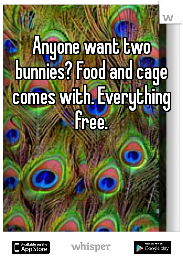 Anyone want two bunnies? Food and cage comes with. Everything free.