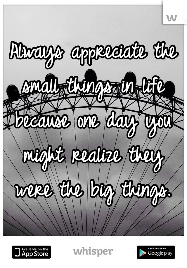 Always appreciate the small things in life because one day you might realize they were the big things.