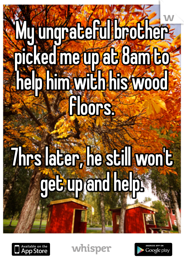 My ungrateful brother picked me up at 8am to help him with his wood floors.  7hrs later, he still won't get up and help.