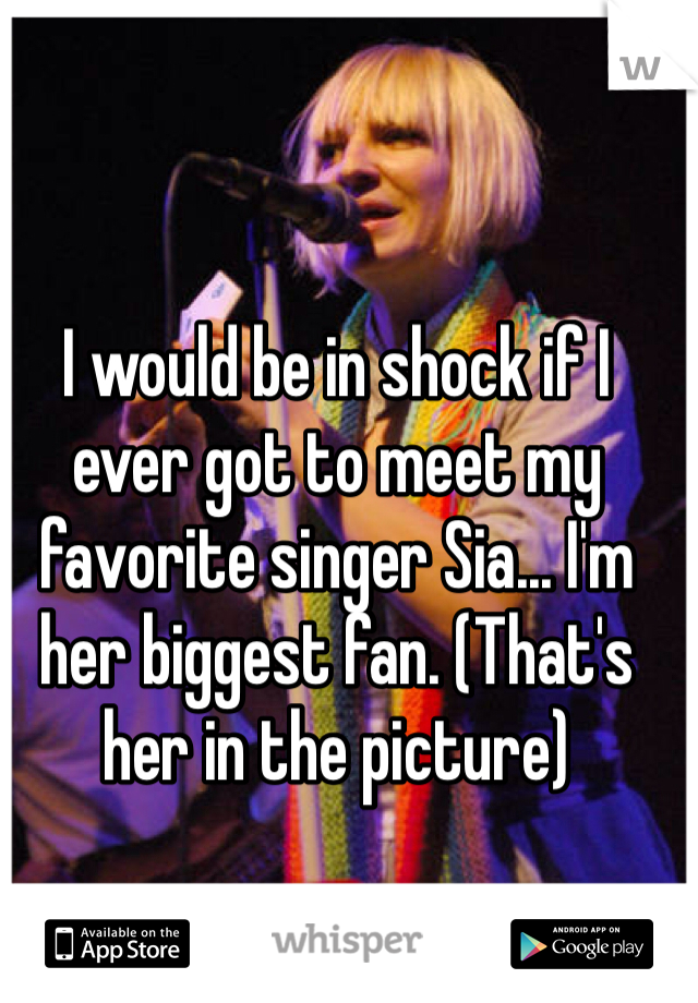 I would be in shock if I ever got to meet my favorite singer Sia... I'm her biggest fan. (That's her in the picture)