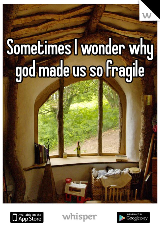 Sometimes I wonder why god made us so fragile