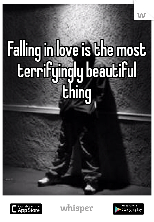 Falling in love is the most terrifyingly beautiful thing