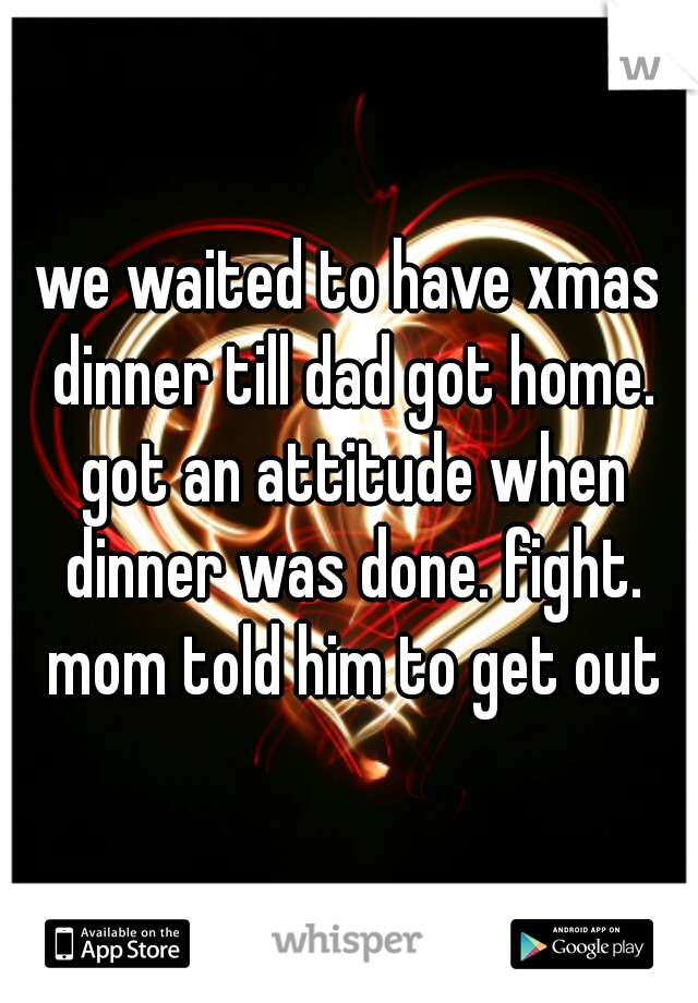 we waited to have xmas dinner till dad got home. got an attitude when dinner was done. fight. mom told him to get out