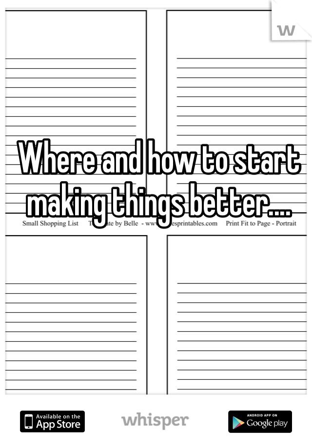 Where and how to start making things better....