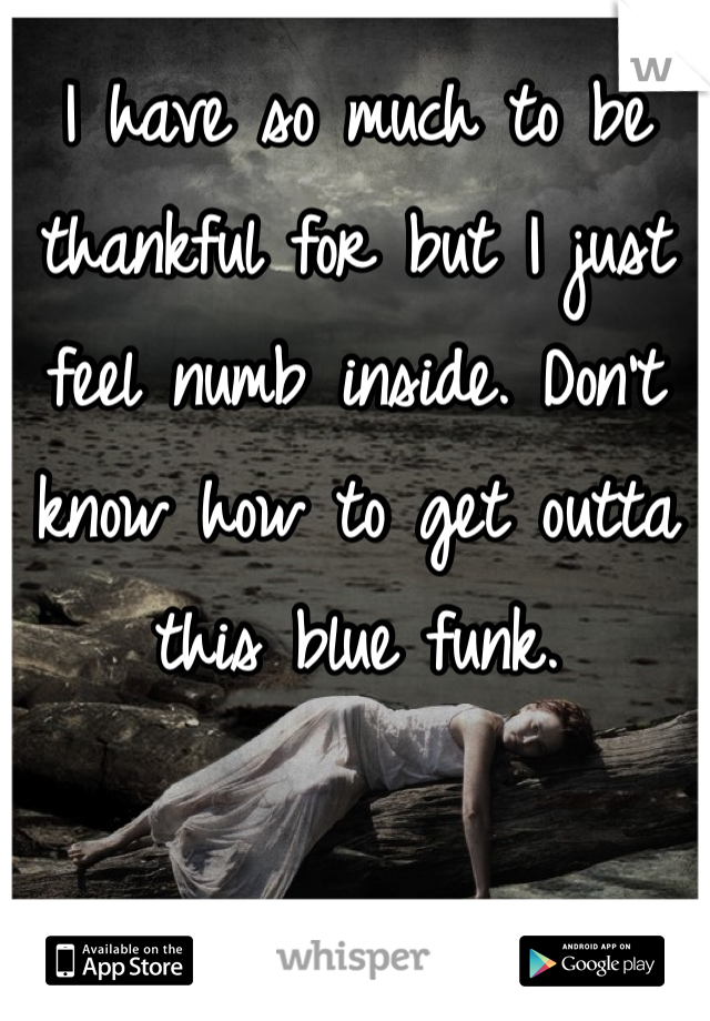 I have so much to be thankful for but I just feel numb inside. Don't know how to get outta this blue funk.