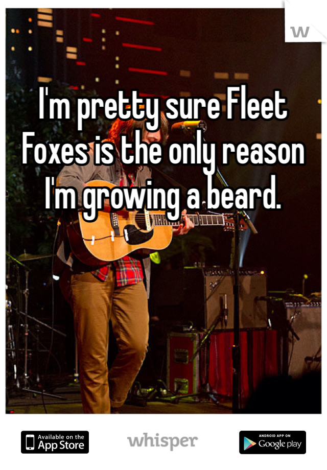 I'm pretty sure Fleet Foxes is the only reason I'm growing a beard.