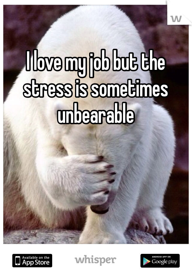 I love my job but the stress is sometimes unbearable