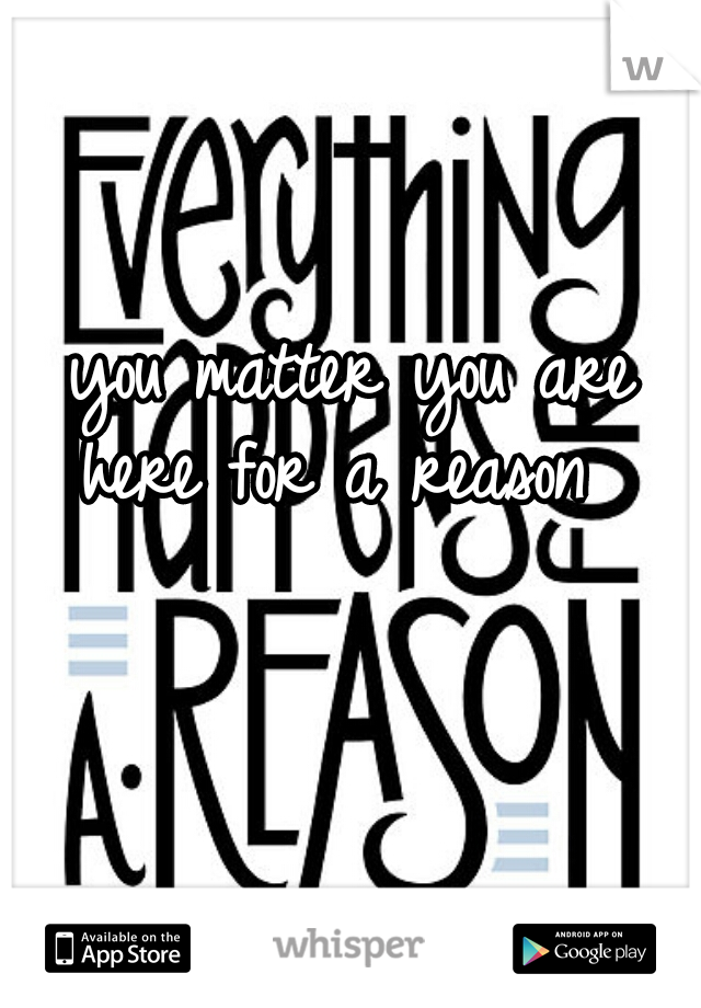 you matter you are here for a reason