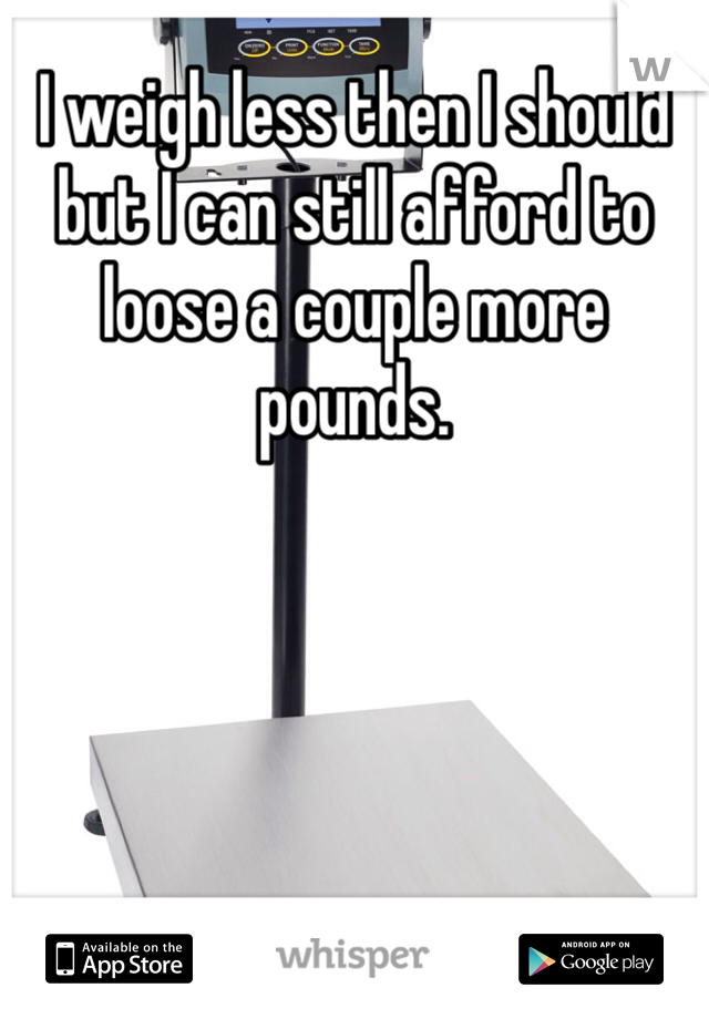 I weigh less then I should but I can still afford to loose a couple more pounds.