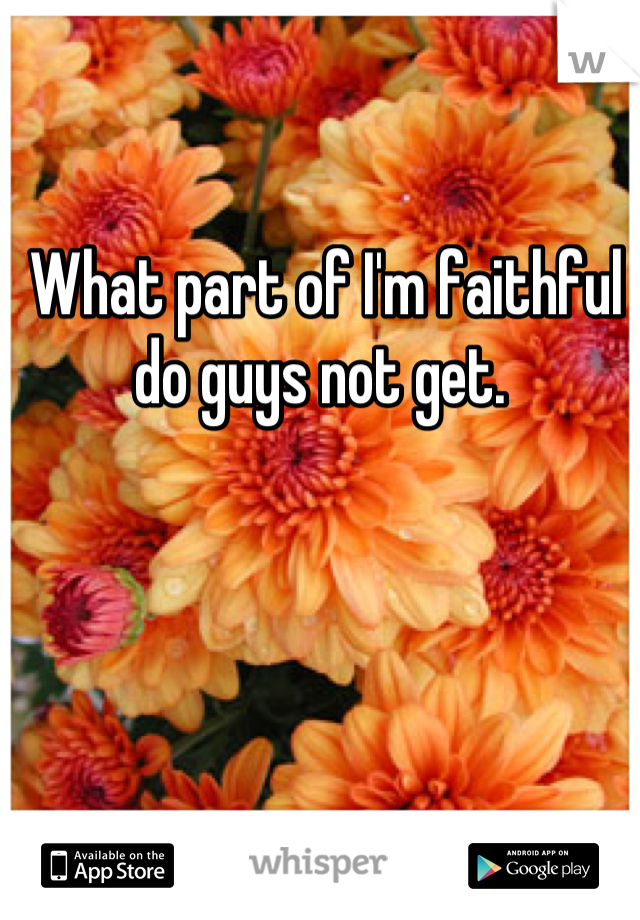 What part of I'm faithful do guys not get.