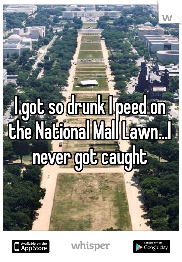 I got so drunk I peed on the National Mall Lawn...I never got caught