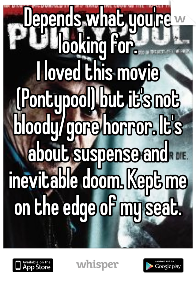 Depends what you're looking for. I loved this movie (Pontypool) but it's not bloody/gore horror. It's about suspense and inevitable doom. Kept me on the edge of my seat.  It's on Netflix!
