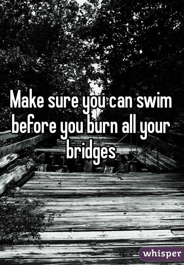 Make sure you can swim before you burn all your bridges