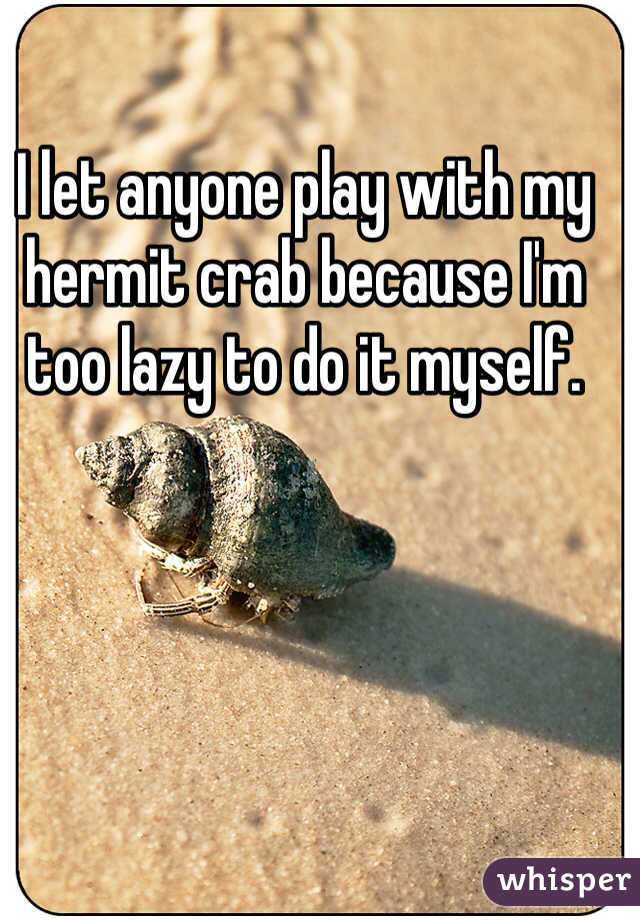 I let anyone play with my hermit crab because I'm too lazy to do it myself.