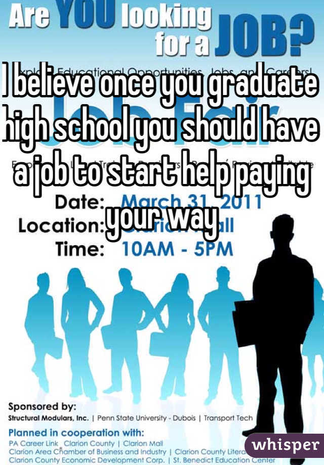 I believe once you graduate high school you should have a job to start help paying your way