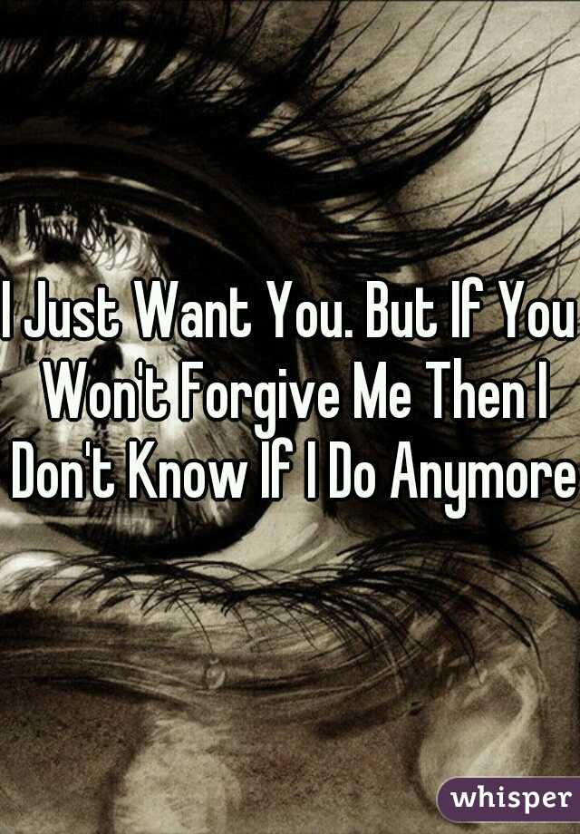 I Just Want You. But If You Won't Forgive Me Then I Don't Know If I Do Anymore.
