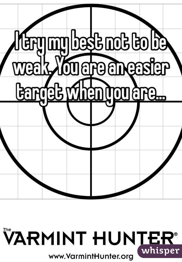 I try my best not to be weak. You are an easier target when you are...