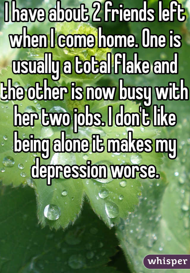 I have about 2 friends left when I come home. One is usually a total flake and the other is now busy with her two jobs. I don't like being alone it makes my depression worse.