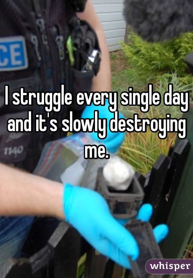 I struggle every single day and it's slowly destroying me.