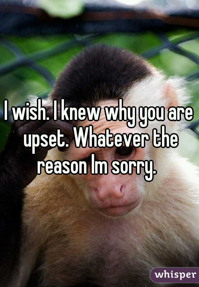 I wish. I knew why you are upset. Whatever the reason Im sorry.