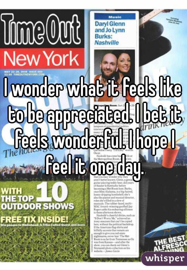 I wonder what it feels like to be appreciated. I bet it feels wonderful. I hope I feel it one day.