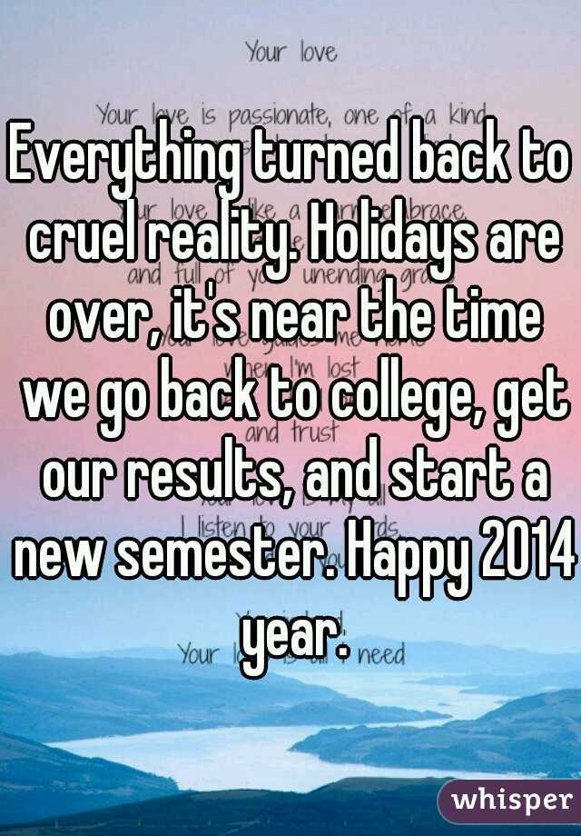 Everything turned back to cruel reality. Holidays are over, it's near the time we go back to college, get our results, and start a new semester. Happy 2014 year.
