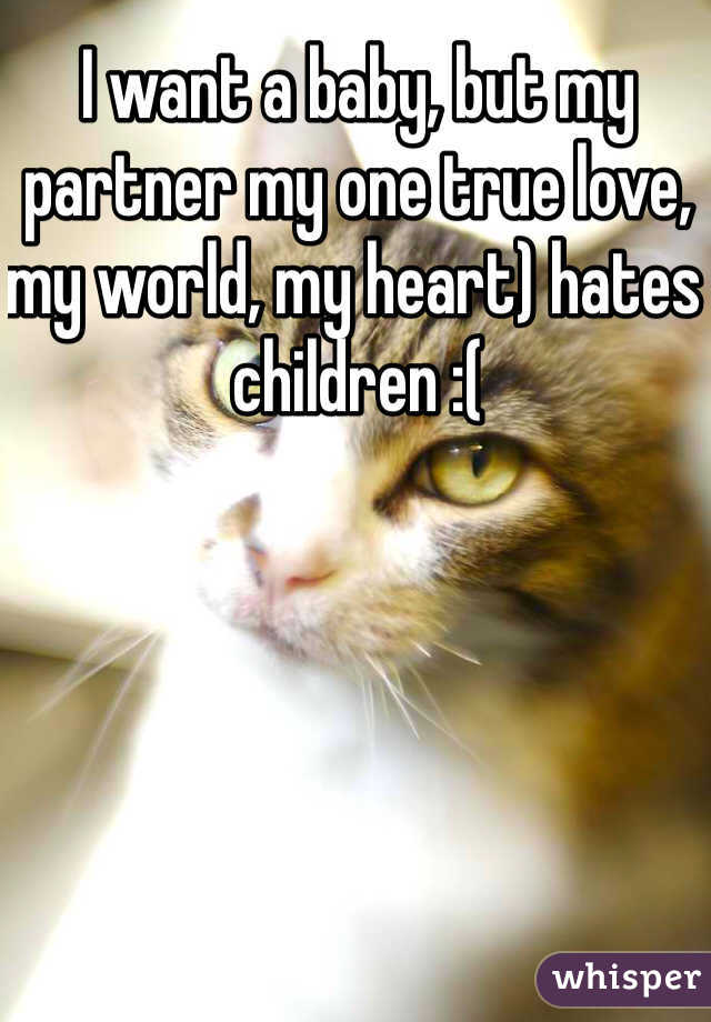 I want a baby, but my partner my one true love, my world, my heart) hates children :(