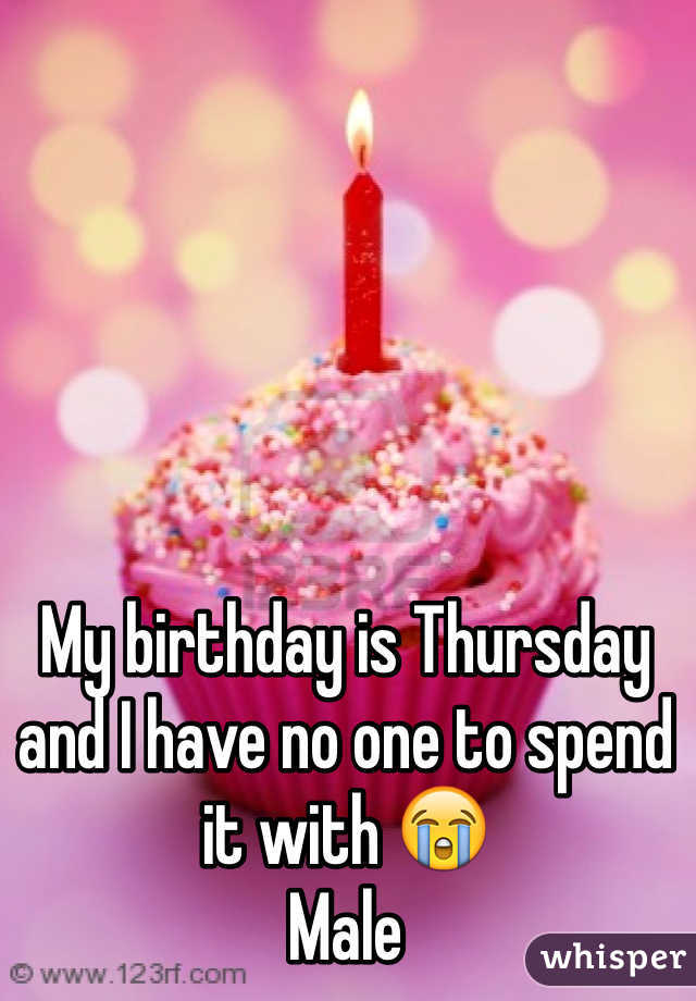 My birthday is Thursday and I have no one to spend it with 😭 Male