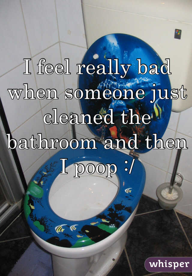 I feel really bad when someone just cleaned the bathroom and then I poop :/