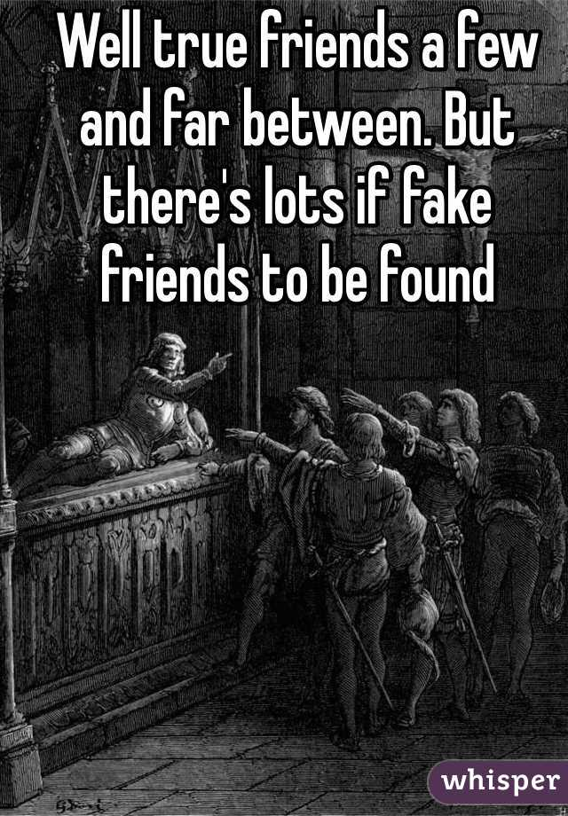 Well true friends a few and far between. But there's lots if fake friends to be found