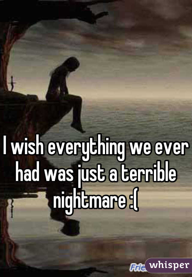 I wish everything we ever had was just a terrible nightmare :(