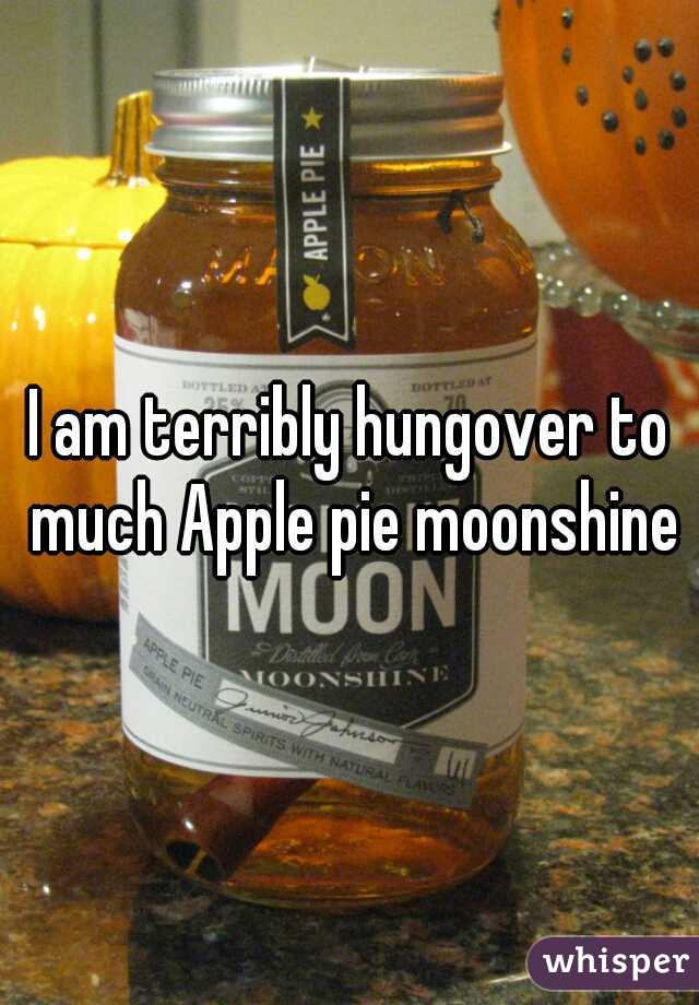 I am terribly hungover to much Apple pie moonshine