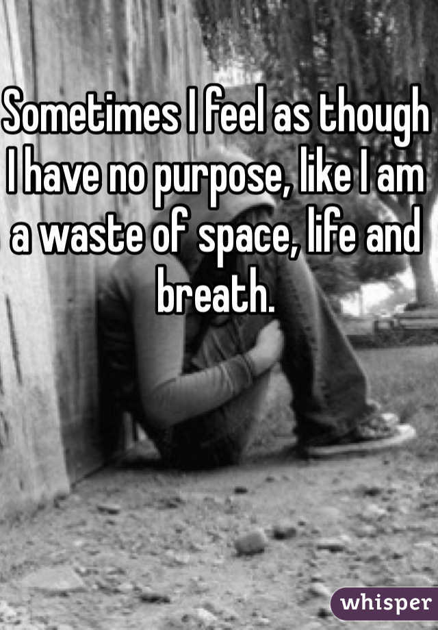 Sometimes I feel as though I have no purpose, like I am a waste of space, life and breath.