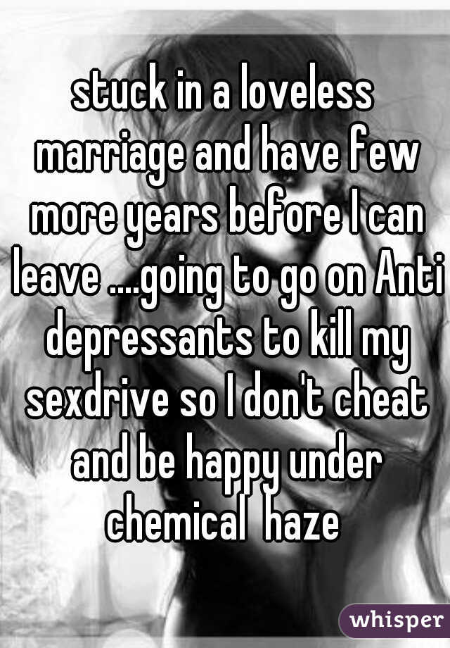 stuck in a loveless marriage and have few more years before I can leave ....going to go on Anti depressants to kill my sexdrive so I don't cheat and be happy under chemical  haze