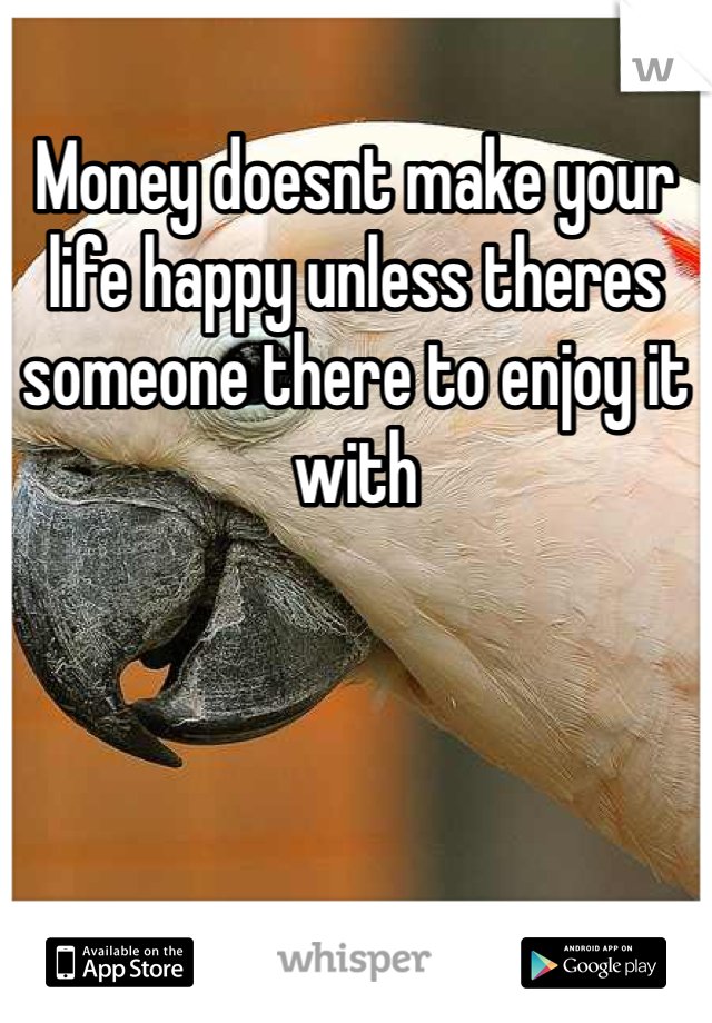 Money doesnt make your life happy unless theres someone there to enjoy it with
