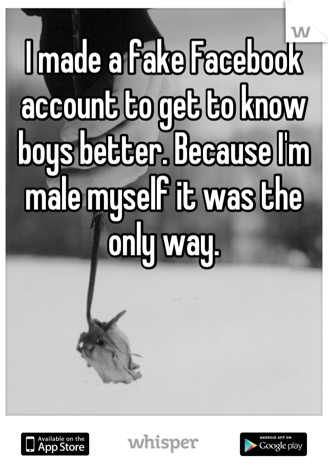 I made a fake Facebook account to get to know boys better. Because I'm male myself it was the only way.