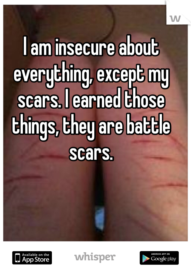 I am insecure about everything, except my scars. I earned those things, they are battle scars.
