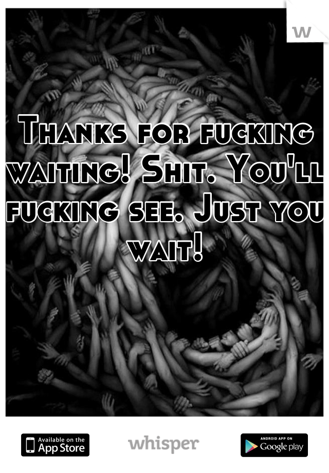 Thanks for fucking waiting! Shit. You'll fucking see. Just you wait!