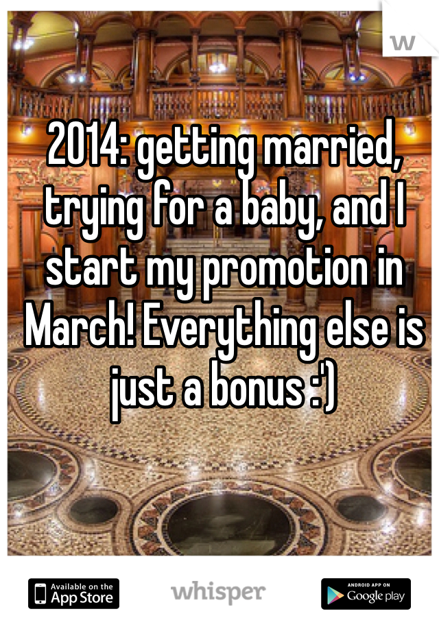 2014: getting married, trying for a baby, and I start my promotion in March! Everything else is just a bonus :')