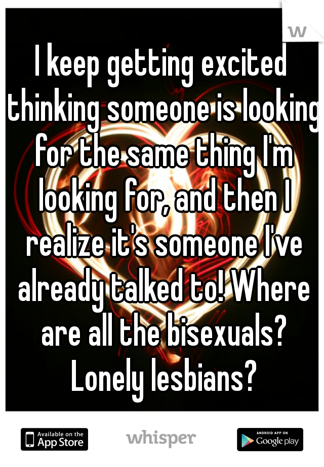 I keep getting excited thinking someone is looking for the same thing I'm looking for, and then I realize it's someone I've already talked to! Where are all the bisexuals? Lonely lesbians?