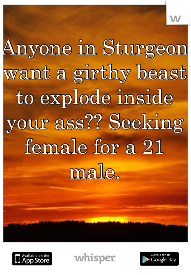 Anyone in Sturgeon want a girthy beast to explode inside your ass?? Seeking female for a 21 male.