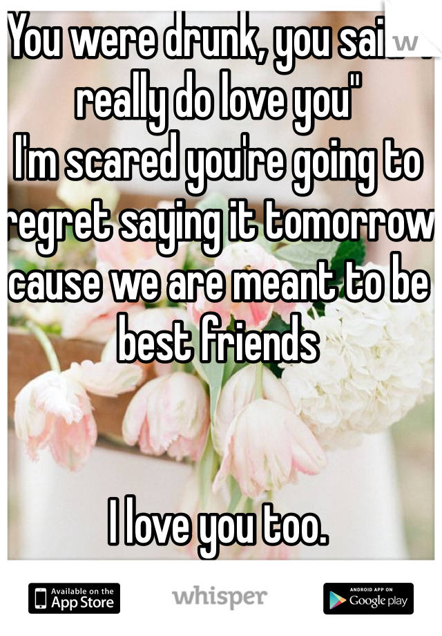 """You were drunk, you said """"I really do love you""""  I'm scared you're going to regret saying it tomorrow cause we are meant to be best friends    I love you too."""