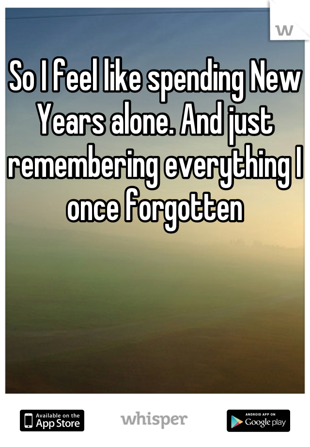 So I feel like spending New Years alone. And just remembering everything I once forgotten