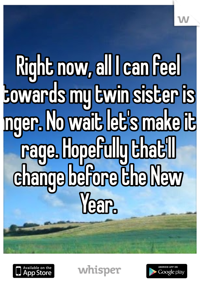 Right now, all I can feel towards my twin sister is anger. No wait let's make it rage. Hopefully that'll change before the New Year.
