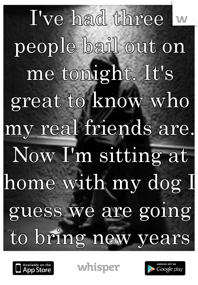 I've had three people bail out on me tonight. It's great to know who my real friends are. Now I'm sitting at home with my dog I guess we are going to bring new years in together.